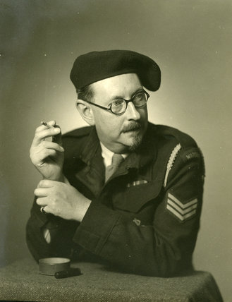 Edward Chambré Hardman in uniform with cigarette