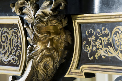 Detail of the marquetry on the middle drawer of the Boulle bureau plat, or writing table, in the Red Room at Petworth House, West Sussex