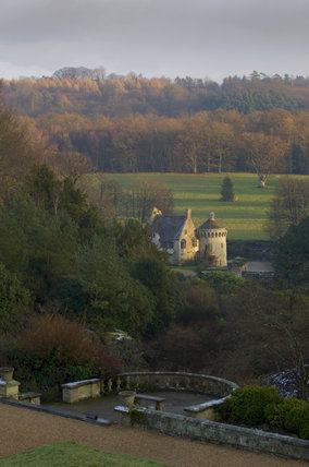 View of the old Scotney Castle from the window of the new mansion house at Scotney Castle, Kent