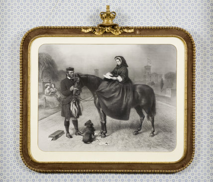 Framed engraving of Queen Victoria on horseback, with John Brown, in the South Bedroom at Hughenden Manor, High Wycombe, Buckinghamshire