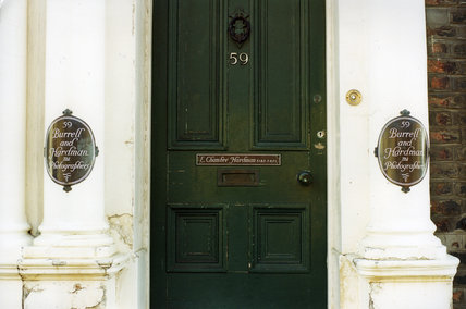 Photograph of the front door of 59, Rodney Street, taken by the National Trust in 2001 when they took the house on