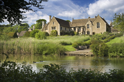 The South and East fronts of  fifteenth-century Great Chalfield Manor, Wiltshire, seen from across the moat