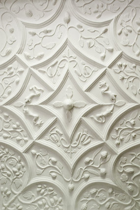 The Jacobean plasterwork ceiling in the Kings Room at Westwood Manor, near Bradford-on-Avon, Wiltshire