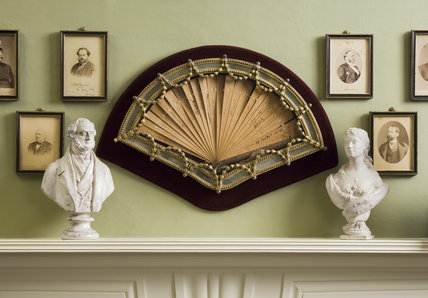 Cherrywood fan, signed by the participants in the Congress of Berlin, 1878, at Hughenden Manor, High Wycombe, Buckinghamshire