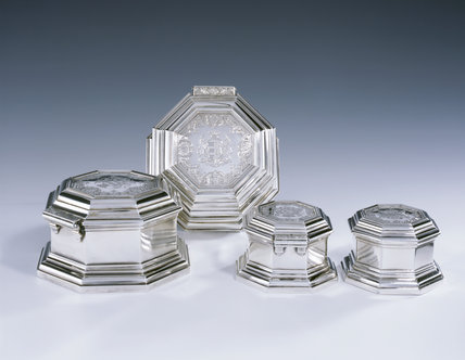 The Countess of Stamford's toilet service - two large and two small octagonal boxes by Magdalen Feline, 1754, (DUN.S.328 & 329) part of the silver collection at Dunham Massey, photographed for the Country House Silver book.