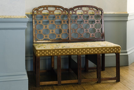 Double Chippendale chair which can be converted into library steps, the Drawaing Room at Coughton Court, Warwickshire