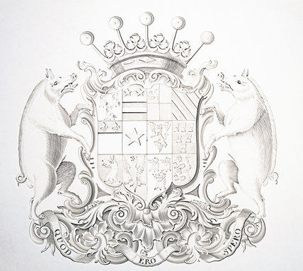 Detail of the engraving of arms on a tea table by David Willaume, 1741/2 (DUN.S.277) part of the silver collection at Dunham Massey, photographed for the Country House Silver book.