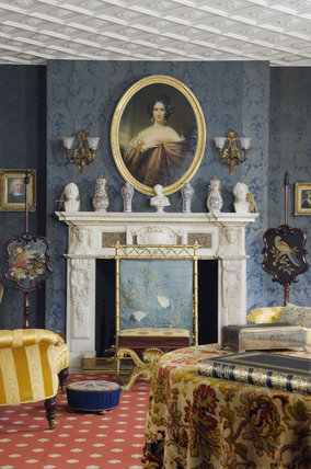 Fireplace and portrait of Mary Anne Disraeli in the Drawing Room at Hughenden Manor, Buckinghamshire, home of prime minister Benjamin Disraeli between 1848 and 1881