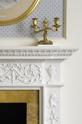 Corner of the fireplace in the South Bedroom at Hughenden Manor, Buckinghamshire, home of prime minister Benjamin Disraeli between 1848 and 1881