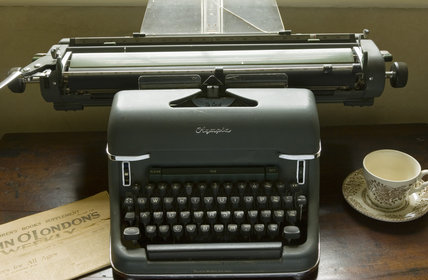 An old Olympia manual typewriter in the Library at Plas yn Rhiw, Pwllheli, Gwynedd