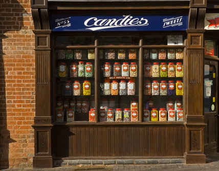 An exterior, street-level view of Candies, the sweet shop, at the Back to Backs in Birmingham