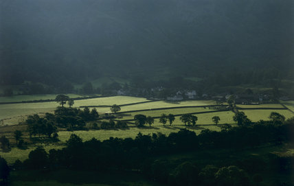 Agricultural landscape at Borrowdale from Scaleclose coppice