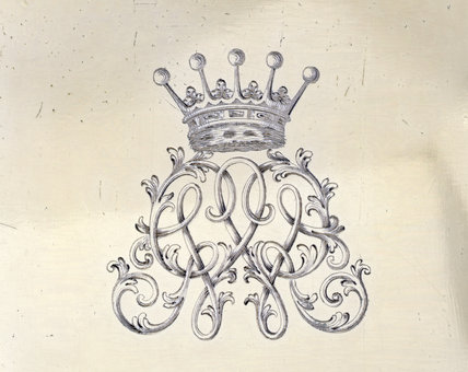 Detail of a monogram engraving on a canister by Magdalen Feline, 1754/5 (DUN.S.275) part of the silver collection at Dunham Massey, photographed for the Country House Silver book.