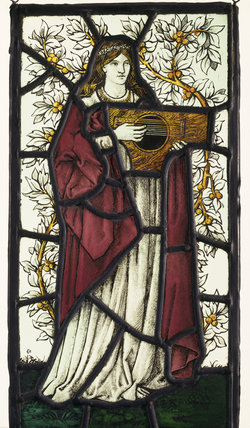 Painted glass, Player with Dulcimer