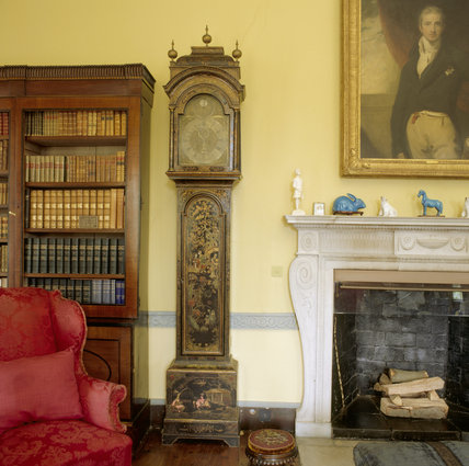 William and Mary longcase clock in black lacquer case by Jeremiah Taylor, from the Castlereagh Room, with chair and footstool in front