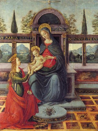 Mystic Marriage of St Catherine, oil on panel , Florentine School, late 15th century