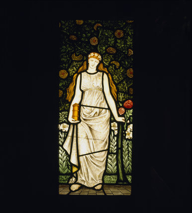 Summer, one of four panels of stained glass in the inglenook fireplace in the Dining Room, designed by William Morris, dated 1873