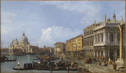 THE GRAND CANAL , PIAZZETTA AND DOGANA, VENICE by Canaletto, 1730 at Tatton Park, oil, 23