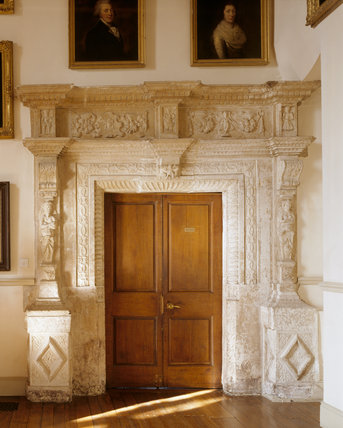 Full view of the Elizabethan carved stone doorway in the north west corner of the Great Hall at Clevedon Court