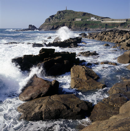 Crashing waves and rocks at Cape Cornwall,