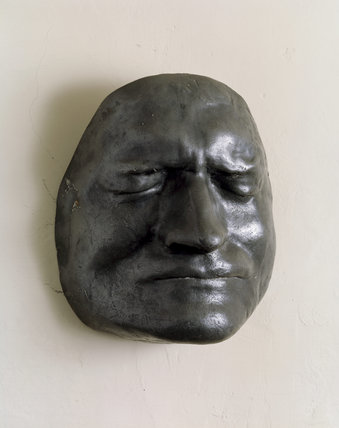 Pewter cast of Newton's death mask in the Study (above the fireplace) at Woolsthorpe Manor