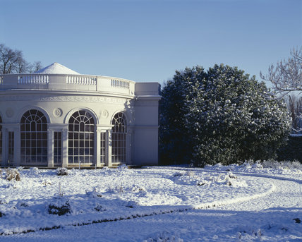 The semicircular garden house by Robert Adam, 1780, at Osterley Park in the snow