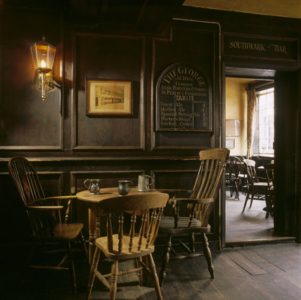 George Inn, view showing table and chairs with tankards