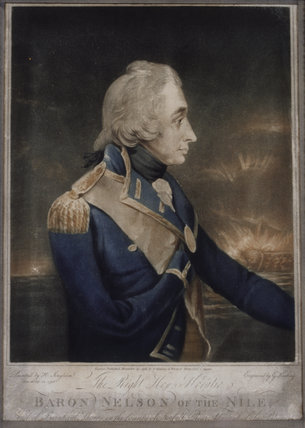 A coloured engraving of the then Rear Admiral Horatio Nelson, which commemorates his victory over Napoleon's eastern empire at the Battle of the Nile in Aboukir Bay on 1 August 1798