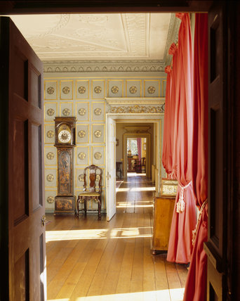 View from the Oak Room door into the Blue Room, and on into the the Drawing Room and Library at Croft Castle