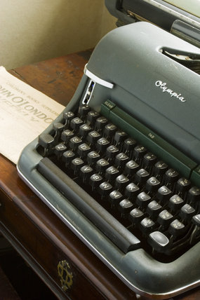 The old manual Olympia typewriter in the Library at Plas yn Rhiw, Pwllheli, Gwynedd