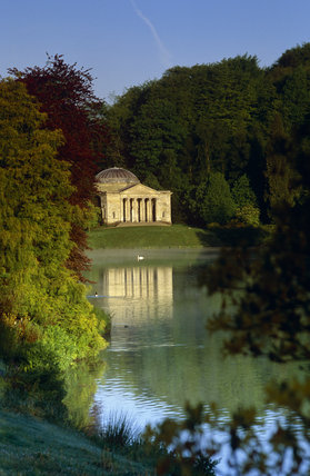 The Pantheon reflected in the lake at Stourhead, Wiltshire in autumn