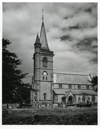 Unidentified Church with Spire and Graveyard
