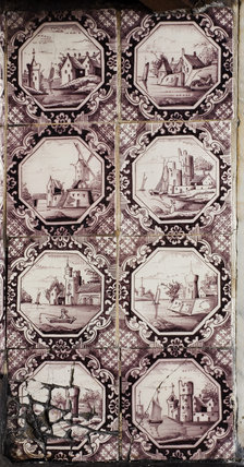 Dutch tiles in the fireplace, installed in 1853, in the Parlour at Carlyle's House, 24 Cheyne Row, London