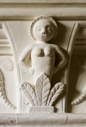 Jacobean plasterwork figure above the fireplace in the Kings Room at Westwood Manor, near Bradford-on-Avon, Wiltshire