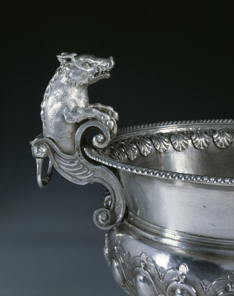 Detail of a William III wine cistern by Philip Rollos, 1701, (DUN.S.310), part of the silver collection at Dunham Massey, photographed for the Country House Silver book.