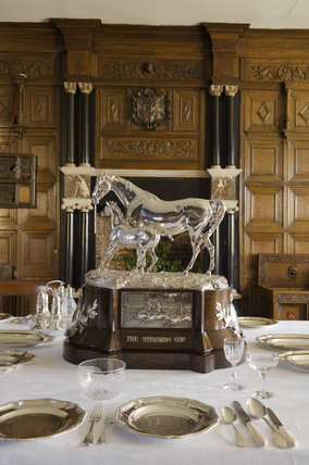 The Steward's Cup Trophy of 1877 won at Goodwood by Herald, one of Sir William Throckmorton's horses, on the table in the Dining Room at Coughton Court, Warwickshire