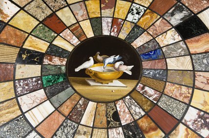Detail of the circular micro-mosaic table top, depicting birds drinking from a bowl, in the Pompeian Room at Ickworth, Suffolk