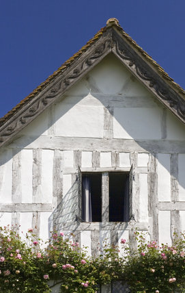 Front gable at Lower Brockhampton House, the medieval manor house on the Brockhampton Estate in Worcestershire