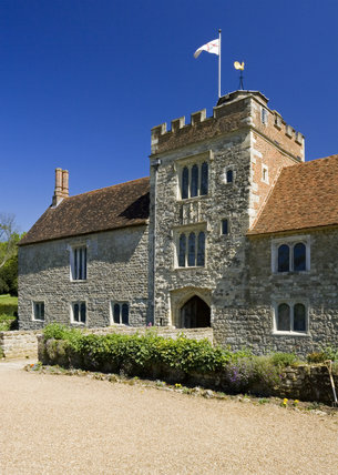 The Gatehouse Tower and West Front at Ightham Mote, Sevenoaks, Kent, a fourteenth-century moated manor house
