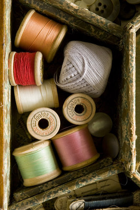 Cotton reels in the needlework box in the Parlour at Plas yn Rhiw, Pwllheli, Gwynedd
