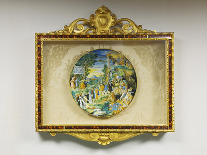 Framed Majolica plate depicting religious and classical scenes, in The Library at Ickworth, Suffolk
