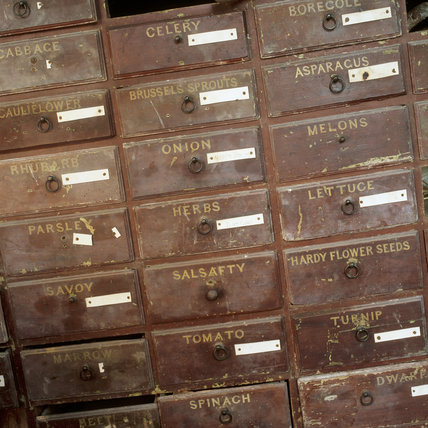 Close-up of old seed drawers in the gardener's bothy at Calke Abbey