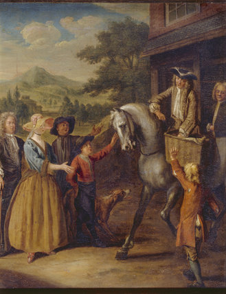 THE MAN OF ROSS - DISTRIBUTING GIFTS TO THE POOR, by Joseph van Aken (1709-49) in the Gallery at Croft Castle