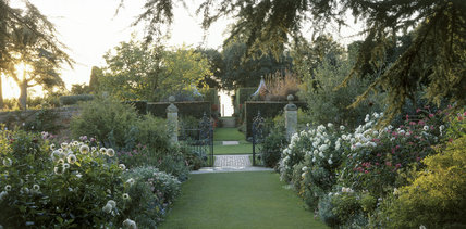 View from the Old Garden showing flowering dahlias behind the gate in the foreground at Hidcote Manor and the view up the steps to the Red Border with pillars, clipped hedges and pavilion roofs