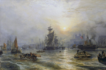PORT OF LONDON by Samuel Bough, signed and dated 1863, at Polesden Lacey (post conservation)