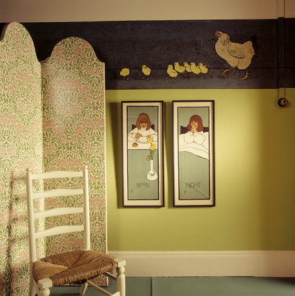 A wall in the Night Nursery with painted frieze of a hen and chicks, also two painings depicting noon and night