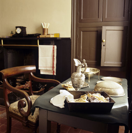 Close up of the table and chair in the Butler's Pantry at Llanerchaeron