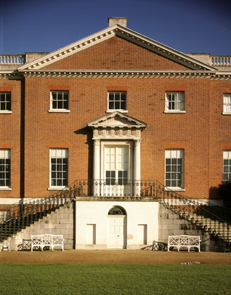 Details of the doorway and staircase in the centre of the west elevation at Osterley Park