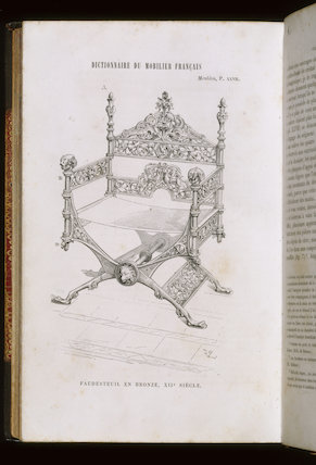 A page of the Dictionnaire du Mobilier Francais showing the design for the original bronze throne by Viollet-le-Duc 1872-75 at Tyntesfield