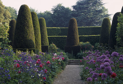 View into the Pillar Garden at Hidcote Manor in May with yew topiary and edges in the background